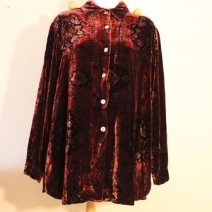 tapestry patterned velvet button down